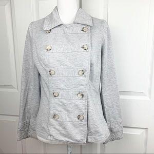 CAbi Large Gray Military Pea Coat Sweater Jacket
